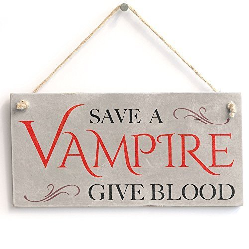 AMELIA SHARPE New Hanging Sign Gift Save A Vampire Give Blood Halloween Sign Wall Decor 12 x 8ative Wood Sign Plaque for House Decor 12 x 8 -