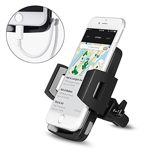 Price comparison product image Goodsail Phone Car Mount Universal Air Vent Phone Holder Cradle for iPhone 8/8 plus/7/7 plus/6s/6 plus, Samsung Galaxy, Other Smart phones and GPS Devices (Black)