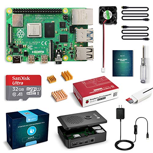 LABISTS Raspberry Pi 4 Complete Starter Kit with Pi 4 Model B 4GB RAM Board, 32GB Micro SD Card Preloaded Noobs, 5V 3A Power Supply, Case, HDMI Cable, SD Card Reader (USB A&USB C), Fan, Heatsinks (Raspberry Pi 2 Model A)