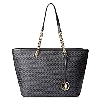 U.S. Polo Assn. Leather Tote Bag for Women - Black
