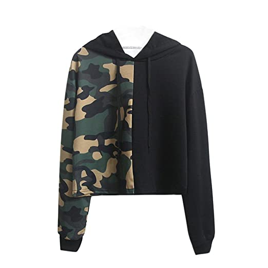 23e7d9f3e0b7c Women's Camouflage Hoodies,Jushye Ladies Winter Sweatshirt Patchwork Casual  Blouse Printed Pullover Hoodie (Army