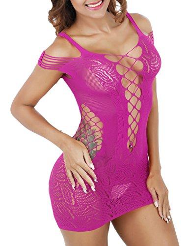 Buauty Sexy Nightie 1 Piece Lingerie Deep V-Neck Mini Dress Fishnet Bodystocking ()
