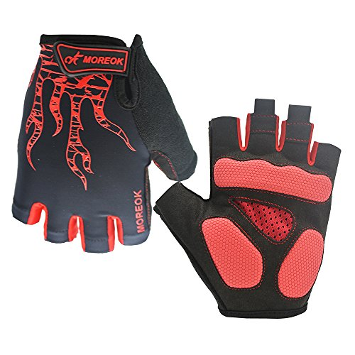 OKSPORT Cycling Gloves Mountain Bike Road Gloves With Gel Pad Shock-absorbing Breathable Bicycle Motorcycle Racing Half Finger Fingerless Gloves For Men/Women Red M