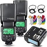 Godox 2X TT600 HSS 2.4G Wireless Master/Slaver Flash Speedlite & Receiver Godox X2T-C Remote Trigger Transmitter Kit Built-in Godox X System Compatible for Canon Cameras