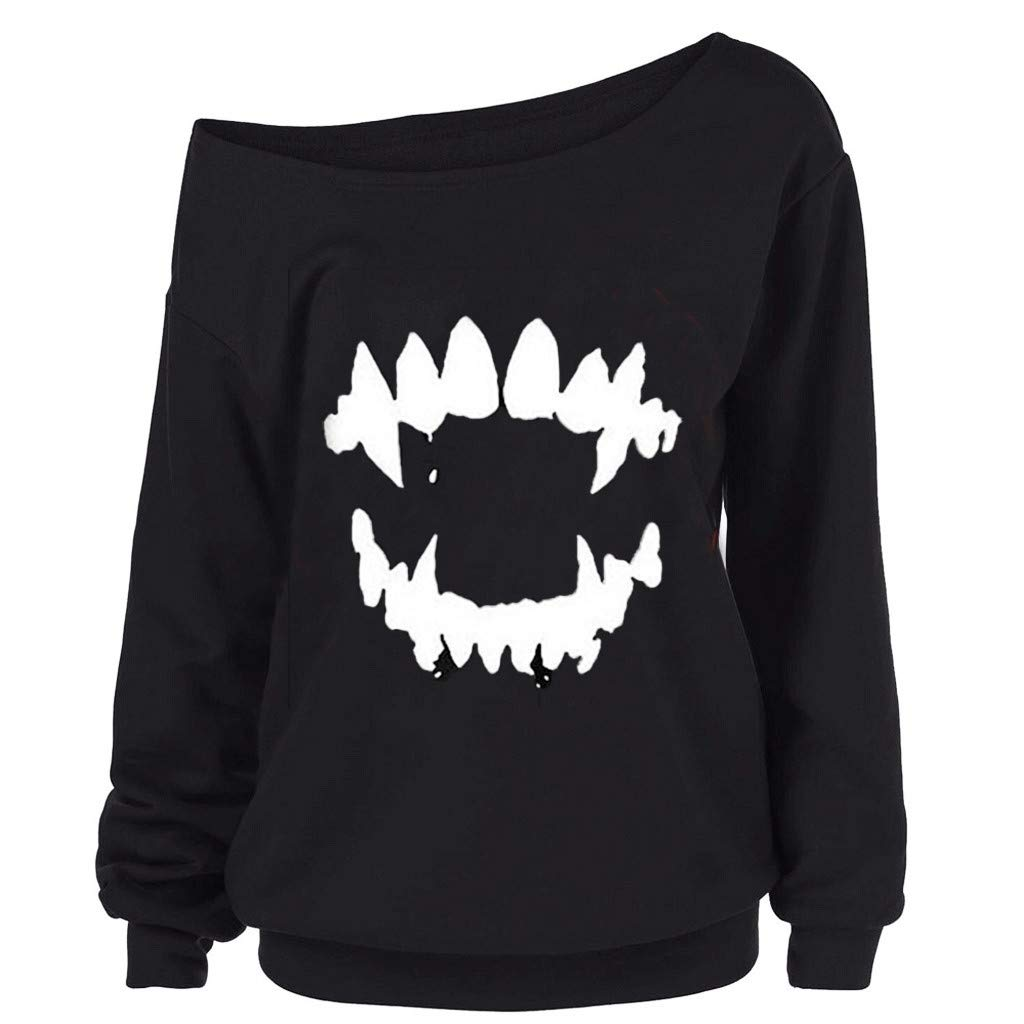 Gofodn Tops for Women Pullover Sweatshirts Halloween Casual Plus Size Gothic Punk Devil Teeth Printed Long Sleeve Blouse