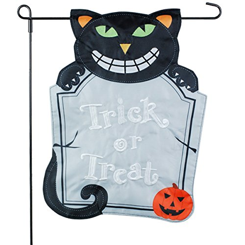 Halloween Garden Flag Garden Flag - Black Cat With Tombstone - 12x18 - Home Garden Flag