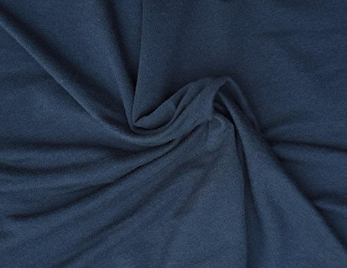 Navy Organic Cotton Rayon Spandex Fabric French Terry Knit by the Yard -