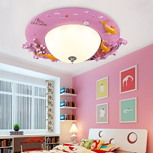 Children Lamp Cartoon LED Ceiling Lamp Living Room Kindergarten Boy Girl Bedroom Bedroom Home Lighting Blue Ocean Fish Lights ( Color : Blue , Size : WARM LIGHT )