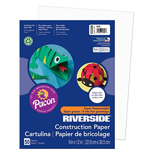 Pacon Riverside 3D Construction Paper, White, 9