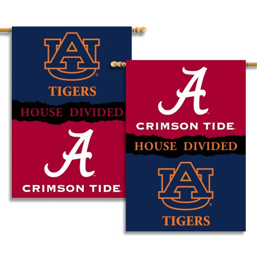 NCAA Alabama - Auburn 2-Sided 28-by-40 inch House Banner with  Pole Sleeve- Rivalry House Divided