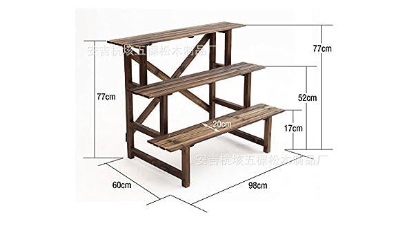 Carbono y tres pisos de madera carbonizada Jardines Terrazas Jardinera piso de madera escalera estantería jarrones de plástico: Amazon.es: Hogar