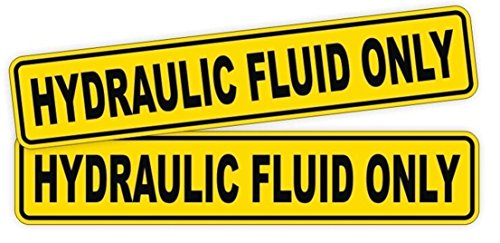 2 PCs Distinguished Popular Hydraulic Fluid Only Vinyl Stickers Sign Weatherproof Safety Caution Fuel Size 1-1/4' x 6-1/4' Color Yellow and Black