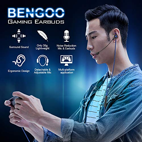 BENGOO G16 Gaming Earbuds Wired with Dual Microphone, Gaming Earphones with Noise Cancellation, In-ear Gaming Headset Headphones Jack for Computer Iphone PlayStation 4 5 Super Nintendo Sony PSP
