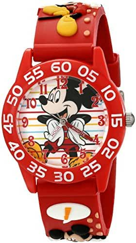 Disney Kids' W001516 Disney Mickey Mouse 3D Plastic Watch with Red Strap