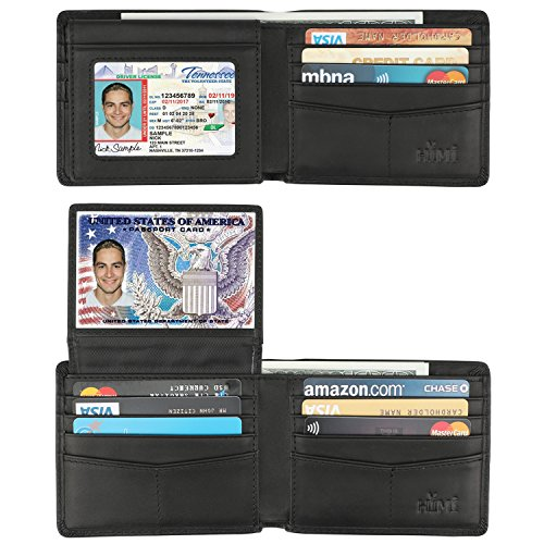 Wallet for Men-Genuine Leather RFID Blocking Bifold Stylish Wallet With 2 ID Window (Vintage Black) by HIMI