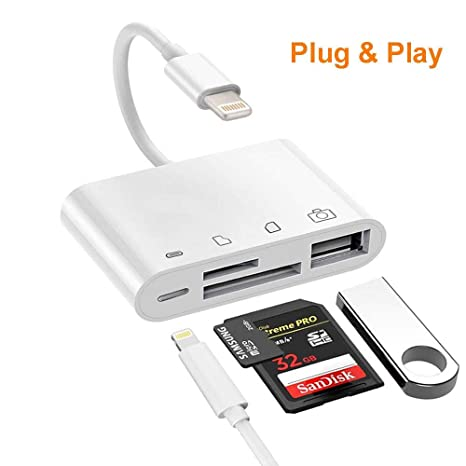 SD/TF Card Reader, 4 in 1 SD Card Reader Adapter with 1USB 2.0 OTG Interface, Digital Camera Reader Adapter, Trail Game Camera Viewer Compatible with ...