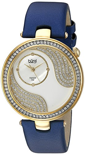 Burgi Women's BUR155BU Yellow Gold Quartz Watch With Swarovski Crystal and Diamond Mother of Pearl Dial With Blue Satin Strap - Swarovski Crystal Heart Watch