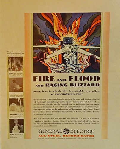 General Electric, 1930 Scarce print ad. full color illustration. (all steel refrigerator) original Fortune Magazine art 1930 General Electric Refrigerator