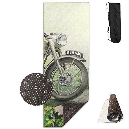 BrownriceS CHRISTMAS SALE 3D Printing Premium PVC Clever Yoga Non Slip Yoga Mat High Density Drawn Motorcycle Bullet Bike Padding Stretching Toning Workouts For Men And Women