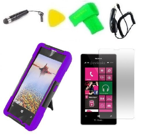 Purple w Black T-Stand Hybrid Phone Case Cover Cell Phone Accessory + Extreme Band + Car Charger + Stylus Pen + LCD Screen Protector + Yellow Pry Tool for Nokia Lumia 521