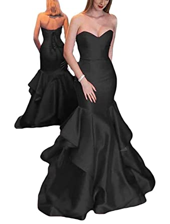 a80811793f TTdamai Trumpt Sweetheart Satin Mermaid Prom Dresses 2018 for Party Formal  Evening Gowns US2 Size Black