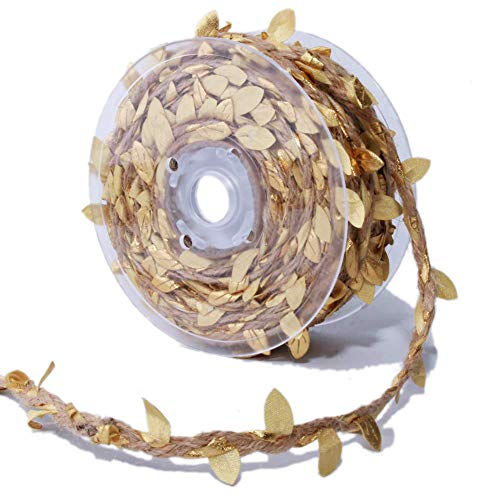 Masokan Gold Leaf Ribbon Trim with Natural Hemp Rope - 20 Yards - for Home Decor and Party ()