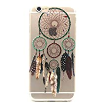For iphone 6 Plus 6S Plus Case Transparent with Print, CaseShell® Soft TPU Transparent Phone Cases Dream Catcher Feather Hollow Lace Flowers Clear Back Cover Feather Wingbell