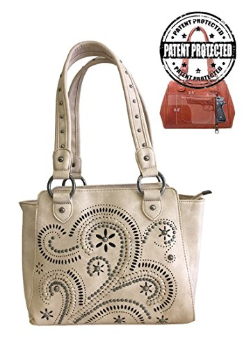 Handbags Wholesale Womens (Montana West Ladies Concealed Gun Carry Purse Handbag Swirl Cutouts Design Beige)