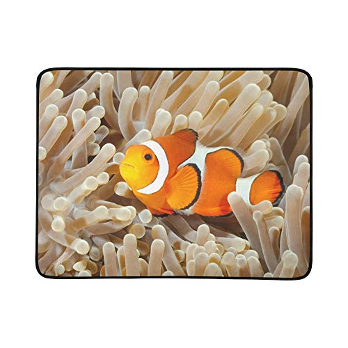 (Clown Fish Anemone and Clown Pattern Portable and Foldable Blanket Mat 60x78 Inch Handy Mat for Camping Picnic Beach Indoor Outdoor Travel)