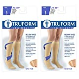 Truform 8865, Compression Stockings, Below Knee, Closed Toe, 20-30 mmHg, Beige, 3X-Large (Pack of 2)