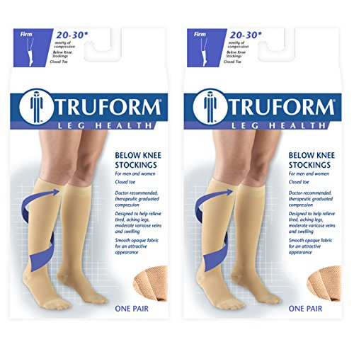 Truform Compression 20-30 mmHg Knee High Stockings Black, 3X-Large, 2 Count