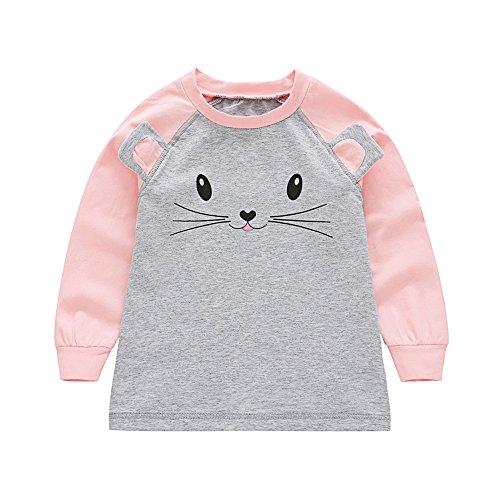 PanDaDa Kid Girls Cute Cat Print Long Sleeve Crew Neck T-shirt Blouses
