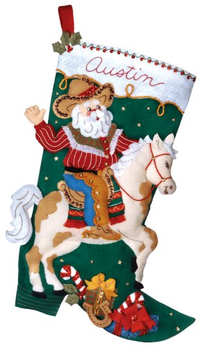 Bucilla 18-Inch Christmas Stocking Felt Appliqué Kit, 85468 Cowboy Santa