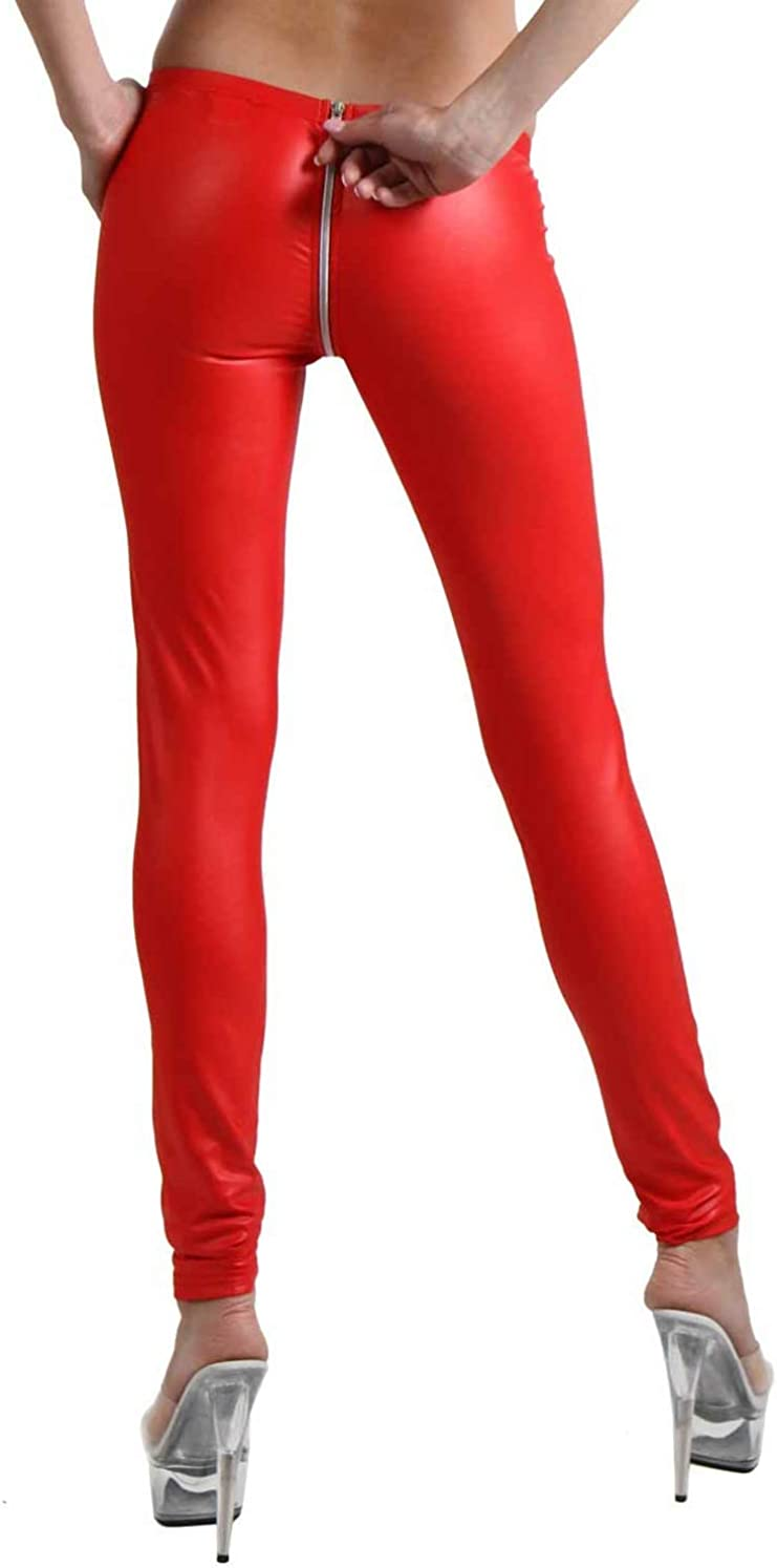 Miss Noir Wetlook Leggings sexys con cremallera de 4 v/ías para mujer Clubwear