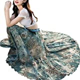 Misscat Women Flowy Beach Dress Flower Print High Waist Chiffon Maxi Skirt