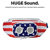 THE #1 American Flag Fannypack with Speakers. Bluetooth Fanny Pack for Parties / Festivals / Raves / Beach / Boats. Rechargeable, Works with iPhone & Android. #1 Bachelor Party Gift (2018 Edition)
