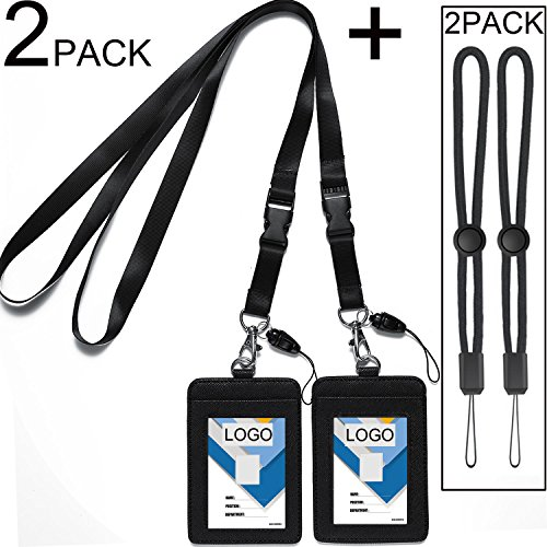 2 Pack Badge Holders Leather+2 Pack Neck Lanyards,Quick Release Detachable Buckle Black Lanyard/Strap for men/women/keys 2-Sided PU Leather Vertical ID Cards Holder with 1 ID Window and 2 Card Slot (Badge Airport Holder)