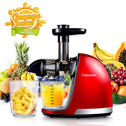 Slow Mastcating Juicer,AMZCHEF Juicer Extractor Professional Machine with Quiet Motor/Reverse Function/Easy to Clean with Brush for High Nutrient Fruit & Vegetable Juice