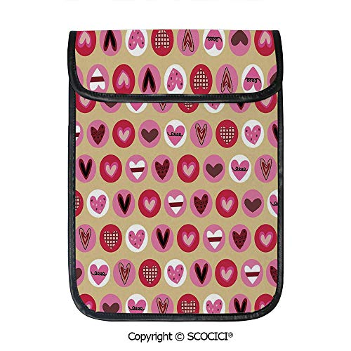 - SCOCICI Simple Protective Cute Cartoon Style Heart Shapes with Dots and Spirals Doodle Hand Drawn Illustration Pouch Bag Sleeve Case Cover for 12.9 inches Tablets