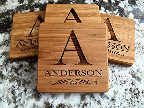 - Personalized Wedding Gifts and Bridal Shower Gifts - Monogram Wood Coasters for Drinks (Set of 4, Anderson Design)