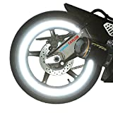 "customTAYLOR33 (All Vehicles) White/Silver/Chrome High Intensity Grade Reflective Copyrighted Safety Rim Tapes (Must select your rim size), 17"" (Rim Size for Most SportsBikes)"