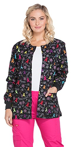 Dickies EDS Signature Women's Snap Front All Awareness Print Scrub Jacket Large Print