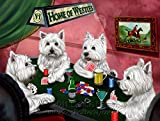Home of Westies 4 Dogs Playing Poker Art Portrait Print Woven Throw Sherpa Plush Fleece Blanket (50x60 Fleece)
