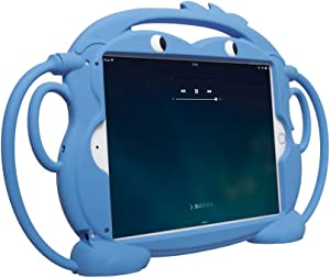 CHINFAI Kids Case for New iPad 2017/2018 [Double-Faced Monkey Series] Shock Proof Handle Stand Silicone Protective Cover for 9.7 inch iPad Pro/Air/Air2/5th/6th Tablet (Blue)