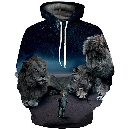 (Leon's shop 3D Hoodie,Digital Printing Couple   Baseball Uniform with Pocket Villain Country Giant Lion,)