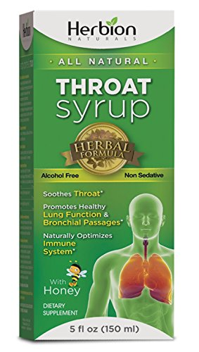 Herbion Naturals Throat Syrup with Honey,5 fl oz - Naturally Tasty, Relieves Cough, Soothes Throat, Promotes Healthy Bronchial Mucosa and Lung (Bronchitis Cough Suppressant)