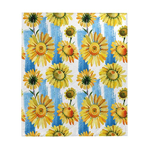(InterestPrint Wildflower Yellow Chamomile Flower Pattern Comforter Set Thin Quilt Lightweight Comforter)
