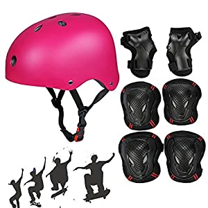 Skateboard Protektoren Set mit Helmet, SymbolLife BMX Helmet Knie Pads Elbow...