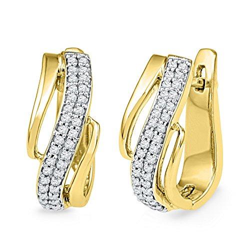 Hoop Diagonal (10kt Yellow Gold Womens Round Diamond Diagonal Double Row Hoop Earrings 1/4 Cttw)