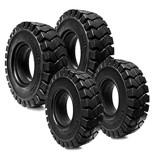WONRAY (2) 700x12 Rear & (2) 6.00-9 Front Solid Flat Proof Solver Forklift Excavator Tires